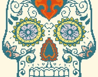 Sugar Skull Cross Stitch Pattern Pdf skull pattern pop art pattern ponto cruz -122 x 167 stitches- INSTANT Download - B1383
