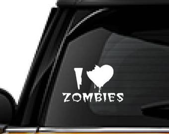 I love Zombies decal, FREE SHIPPING, White vinyl decal, #Zombies, home decor decal, car sticker, laptop decal, yeti decal #165