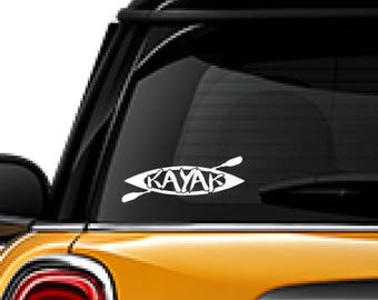 Kayak with Paddle decal, FREE SHIPPING, White vinyl decal, water sports, paddling #170
