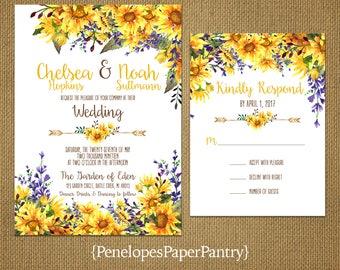 Romantic Sunflower Summer Wedding Invitation,Sunflowers,Yellow,Purple,Floral Arrow,Rustic,Shabby Chic,Custom,Printed Invitation,Wedding Set