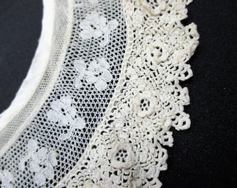 Irish Collar Crochet Lace with Raised Flowers and Cotton Netting -  Hand Crocheted Irish Rosettes - Cream or Ivory Collar