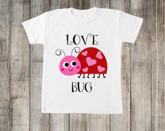 Love Bug Lady Bug Valentine's Day Little Kids T-shirt or Baby Onesie