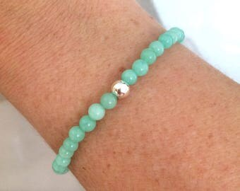 Aqua green Jade  Bracelet - stretch  with Sterling Silver Bead- 4th heart Chakra bracelet
