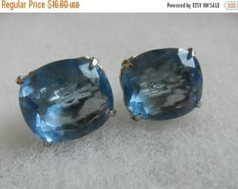 Summer Sale Vintage Large Blue Costume Jewelry Clip On Earrings