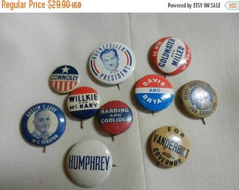 Easter Sale 10 Vintage Political Campaign Buttons