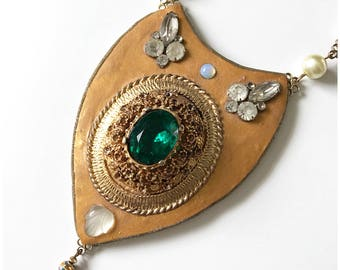 gold and emerald statement necklace handmade with polymer clay and upcycled vintage elements