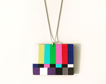 TV pendant - handmade with polymer clay on a sterling silver ball chain