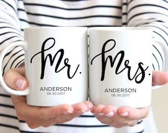 Mr & Mrs Mugs, Custom Wedding Gift, Personalized Wedding Mugs, Engagement Gift, Bride and Groom Mugs, Anniversary Gift, font 12