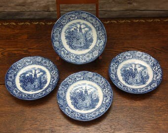Staffordshire Liberty Blue Saucers | Lot of 4 | Featuring Boston's Old North Church  | Made in England | Excellent!