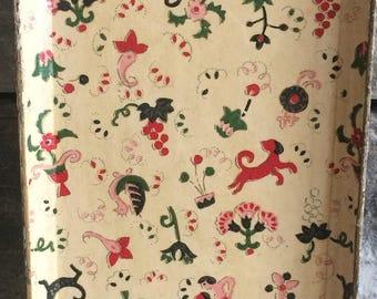 Vintage Japanese Pressed Paper Mache Tray, Recgtangular Vanity Tray, Vintage Animal and Flower Print Trays, Made in Japan Tray, Trinket Tray