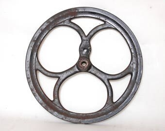 "Antique Pulley Flywheel Cast Iron Treadle Sewing Machine Part 11 3/4"" Vintage"