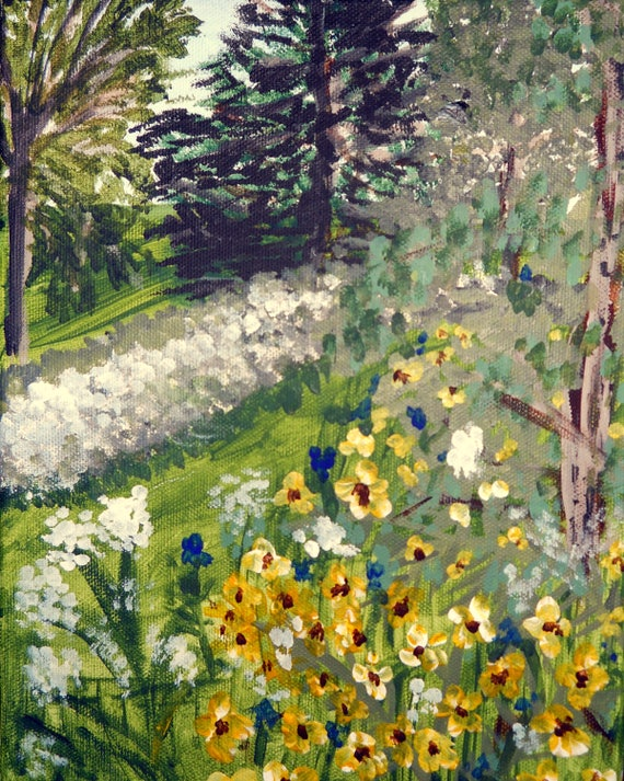 "Plein-Air Painting, ""A Pretty Spot,"" acrylic on stretched canvas, yellow flowers beside a path"