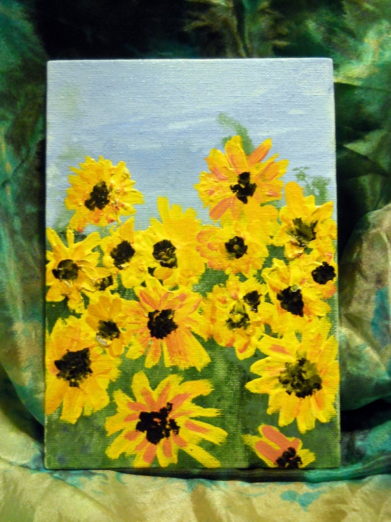 "SUMMERSHINE, Acrylic Painting on 7 x 5"" Canvas Panel, Folk Art, Stacey Torres Artist, Yellow Flowers"