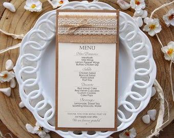 Wedding Dinner Menu, Wedding Menu, Bridal Shower Menu, Rustic Wedding Dinner Menu, Rustic Lace Wedding Menu, Burlap Wedding Menu - PACK of 5