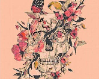 "sugar skull flowers hummingbird and butterlfy Counted Cross Stitch Pattern punto de cruz needlework - 11.79"" x 16.00"" - L932"