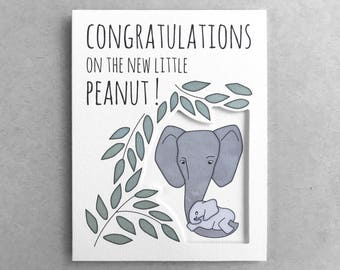 New baby card | Pregnancy card  New parents card  Baby shower card  Baby elephant Congratulations card  New mom  Baby girl  Baby boy