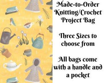 Spring Showers in Butter, Knitting Project Bag, Crochet Bag, Cross Stitch, Zippered Bag, Knitting Organizer