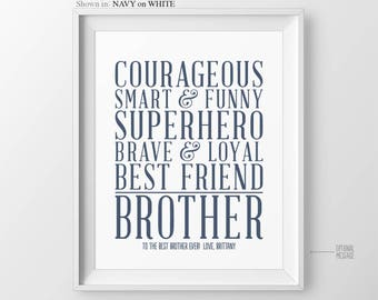 Gift for Brother Christmas Gift Ideas for Brother Quotes Personalized Gift Brother Gift from Sister Gift for Big Brother Gift from Brother