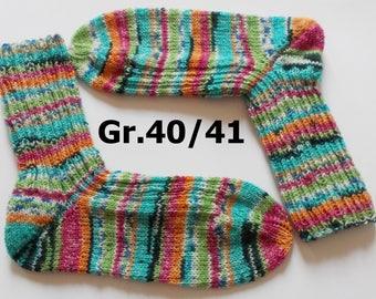 hand-knitted socks, Gr. 40/41 (EU), colorful
