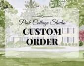 Custom whimsical watercolor house portrait