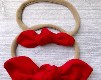 Red Baby Headband, Bow Headband, Nylon Headband, Baby Girl Headband, Baby Accessories, Baby Bow Headband, Knot Bow, Mini Knot Bow