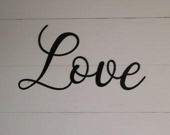 Love Sign, Rustic Word Art Sign, Metal Wall Art, Wall Decor, Metal Home Decor