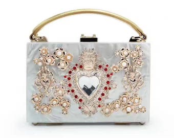 Handbag imperial heart and flowers