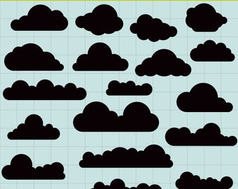Clouds SVG, Cloud Clipart, Clouds Clip Art, Clouds Silhouette Clipart, Digital Clouds, SVG Files, Instant download