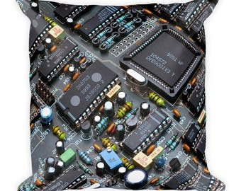 Cool geek geekery circuit board printed Square Pillow