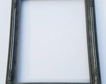 "Silver Gray Art Deco Wood and Gesso Picture Frame 13"" x 16"""