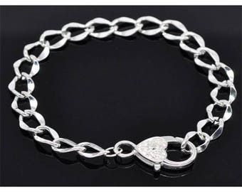5 bracelets 20cm Silver Clasp heart curved link chain