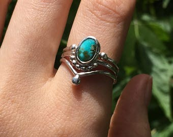 Turquoise Stacking Set, turquoise ring, genuine turquoise ring, sterling silver turquoise ring, December birthstone, dainty, MADE TO ORDER
