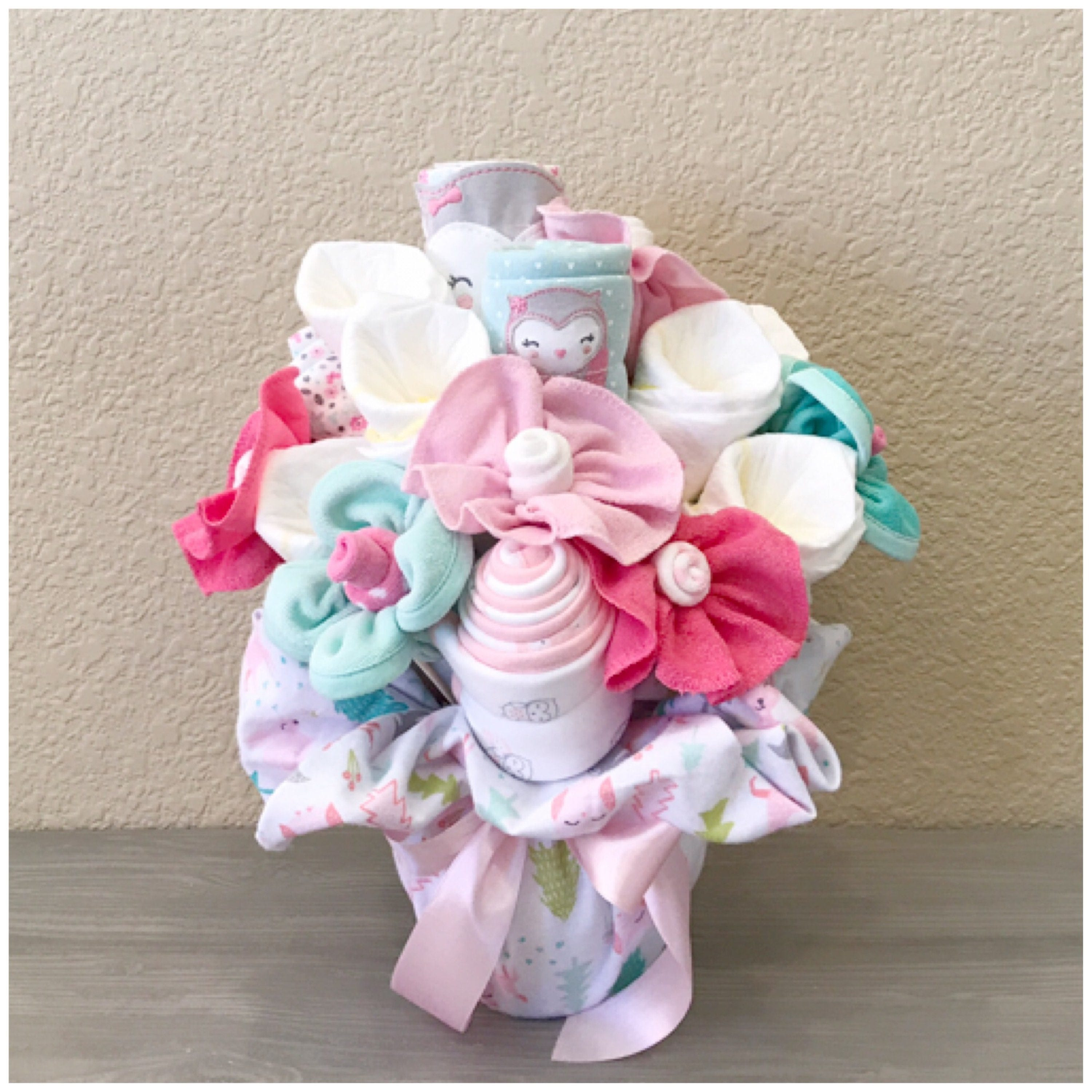 Baby gift for girl pink and teal owl themed baby clothing baby gift for girl pink and teal owl themed baby clothing bouquet floral nursery decor owl baby shower centerpiecegift negle Image collections