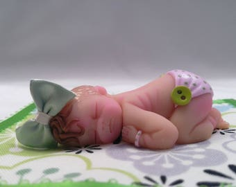 "Polymer Clay Babies ""Lil Pea"" BABY SIZE 2.5"" Gift, Collectible, Cake Topper, Keepsake, Home Shelf Decor Display Baby Shower Gift, Memorial"