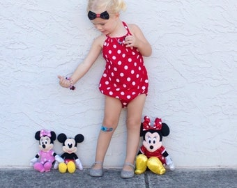 Polka Dot Romper, Dots, Red and White Dots, Sunsuit Romper, Toddler Romper, Baby Romper, Halter, Polka Dots, Mouse, Red Romper