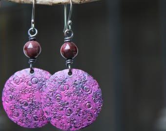 Artisan earrings, Copper earrings, Patina earrings, Vintage, Boho earrings, Bohemian, Rustic copper jewelry, Sterling silver hook, Handmade