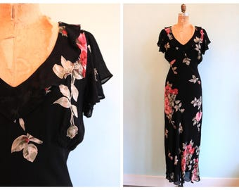 Vintage 1990's Black Floral Beaded 30's Inspired Dress | Size Medium