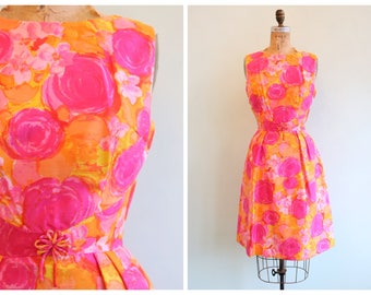 Vintage 1960's Bright Pink and Orange Floral Dress | Size Small