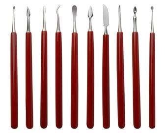 10 Pack of Soft Grip Wax Carvers Jewelry Making Wax Detailing Shaping Tool Set - CARV-0014