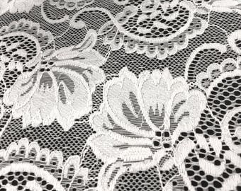 "Off White Stretch Lace Fabric Floral Embroidery Poly Spandex 58"" Wide BTY Wedding Apparel Victoria"