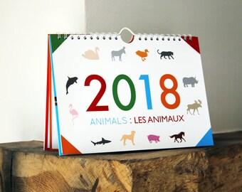 Bilingual Calendar 2018: Animals