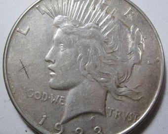 1923 D silver Peace dollar grades XF (#E108g)