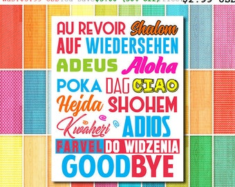 50% Off Goodbye Sign Goodbyes In Different Languages World Goodbye Sign Multilingual Goodbye International Goodbye Travel Sign (JPP129)