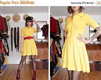 SUMMER SALE 1970's My Sunshine Mini Yellow Dress - 70's Bright Yellow mini Dress - Size XS / S