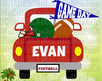 Football SVG, Football Truck SVG, Truck svg, Pickup Truck svg, Kids svg, Game Day svg, Commercial Use SVG ~ Cut File, Clipart dxf, eps, png