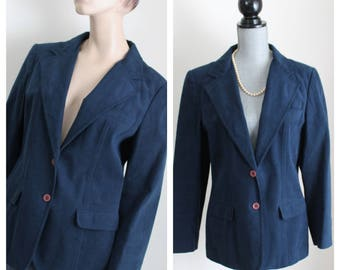 Vintage Dark Blue Jacket by Count Romi, Size Large Ultrasuede 1970s Navy Blazer