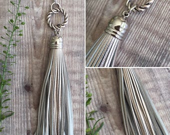 Metallic Champagne Long Silver Leather Tassel Necklace