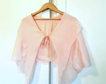 1940s Pure Silk Bed Jacket Cape Pale Pink, lingerie nightwear, babydoll