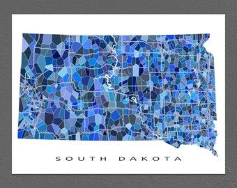 South Dakota Map Print, South Dakota State Art, SD Wall Artwork
