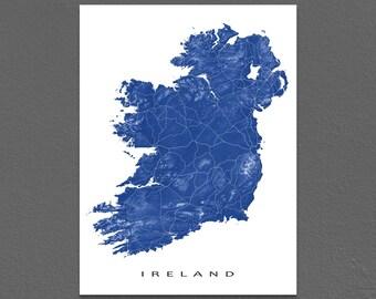 Ireland Map Art, Ireland Print, Northern Ireland, Republic of Ireland